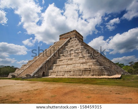 Mayan pyramid of Kukulcan El Castillo in Chichen-Itza (Chichen Itza), Mexico  - stock photo