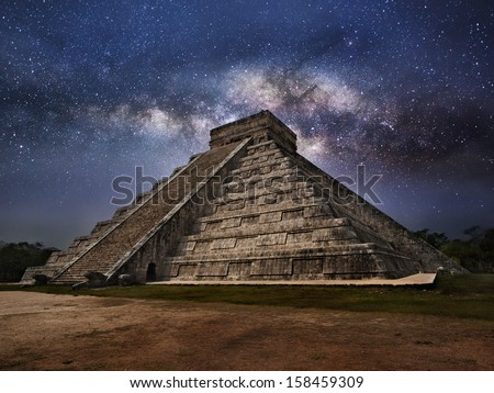 Mayan pyramid of Kukulcan El Castillo in Chichen-Itza (Chichen Itza), Mexico  at Night