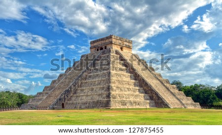 Mayan pyramid of Kukulcan El Castillo in Chichen Itza, Mexico - stock photo
