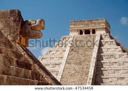 "Mayan Pyramid of Kukulkan ""El Castillo"" as seen from the Platform of the Eagles and the Jaguars, Chichen Itza, Mexico. - stock photo"