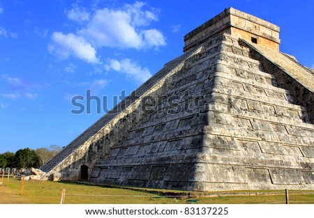 Mayan pyramid over blue sky at equinox day Chichen Itza Mexico - stock photo