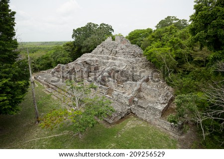 Mayan pyramid ruin surrounded by tropical jungle - stock photo