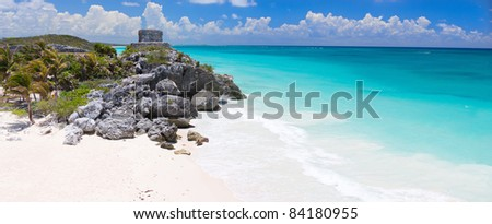 Mayan ruins and beautiful Caribbean coast in Tulum Mexico - stock photo