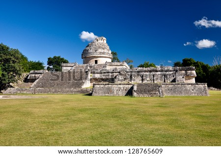 Mayan ruins - astronomical observatory - stock photo