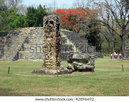 Mayan Ruins at Copan, Honduras - stock photo