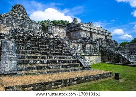 Mayan ruins at Ek Balam - stock photo