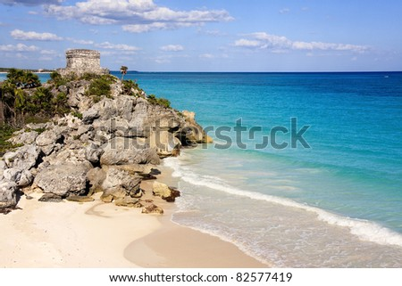 Mayan ruins at Tulum in Mexico - stock photo
