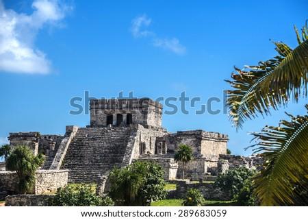Mayan Ruins Besides Caribbean Sea. Riviera Maya, Traveling America. - stock photo