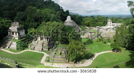Mayan ruins in Palenque - stock photo