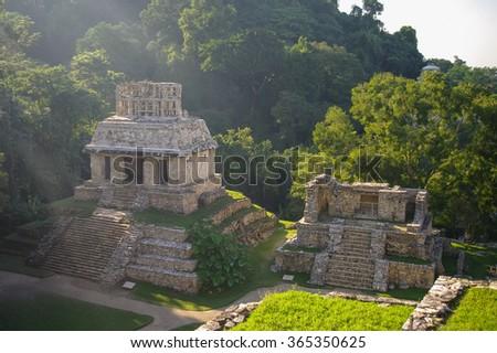 Mayan ruins in Palenque, Chiapas, Mexico. - stock photo