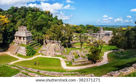 Mayan ruins in Palenque, Chiapas, Mexico. Palace and observatory. It is one of the best preserved sites, which contains interesting architecture and is popular tourist attraction - stock photo