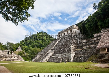 Mayan ruins in the site of Palenque, Mexico. Temple of the Inscriptions. - stock photo