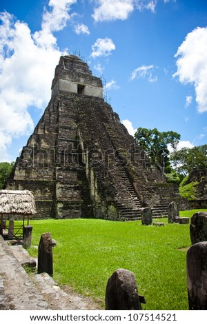 Mayan ruins in Tikal site, Guatemala. - stock photo