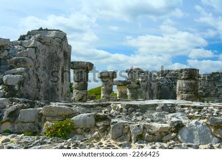 Mayan ruins in Tulum, Mexico. - stock photo