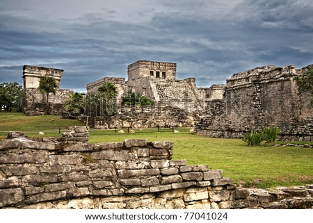 Mayan ruins in Tulum, Mexico - stock photo