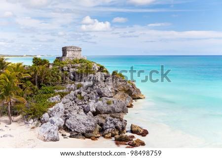 Mayan ruins in Tulum, Quantana Roo, Mexico - stock photo