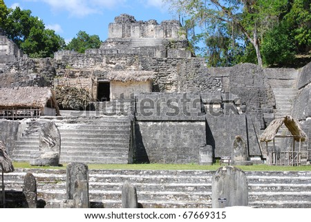 Mayan Ruins of Tikal - stock photo