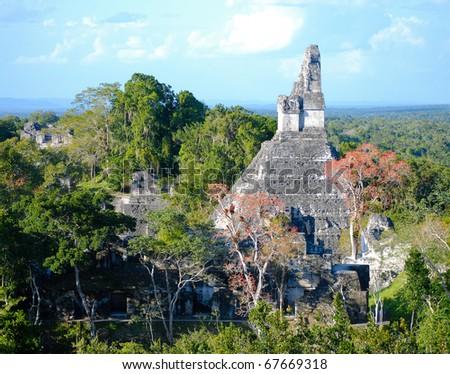 Mayan Ruins of Tikal in Guatemala - stock photo