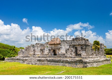 Mayan ruins of Tulum. Located on the Yucatan Peninsula of Mexico  - stock photo