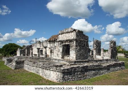 Mayan ruins of Tulum. Located on the Yucatan Peninsula of Mexico - stock photo