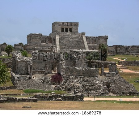 Mayan Ruins of Tulum (Ultramar) - stock photo