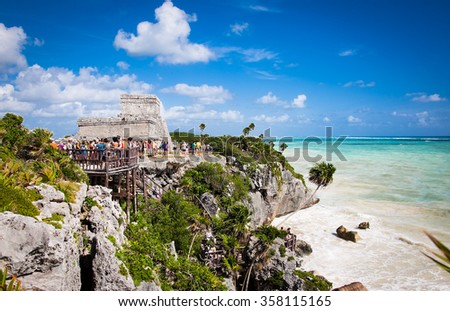 Mayan Ruins of Tulum, Yucatan, Mexico.Latin America. - stock photo