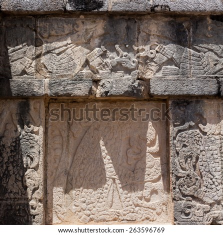 Mayan Stone Carved Jaguar and Eagle temple at Chichen Itza, Mexico - stock photo