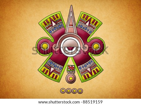 Mayan symbol on texture background - stock photo
