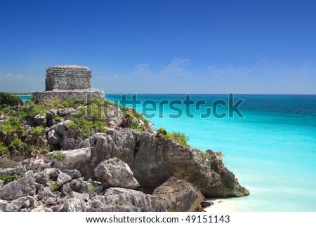 Mayan temple at Tulum near Cancun overlooking the Caribbean sea, Mayan Riviera, Mexico. - stock photo