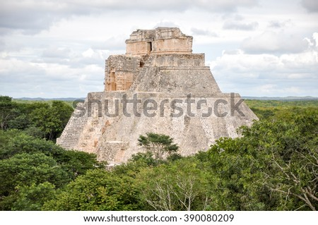 Mayan temple Uxmal archeological site, ruins in yucatan, mexico  - stock photo