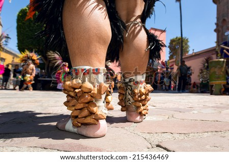 Mayan traditional ankle bracelet made out of nut shells - stock photo