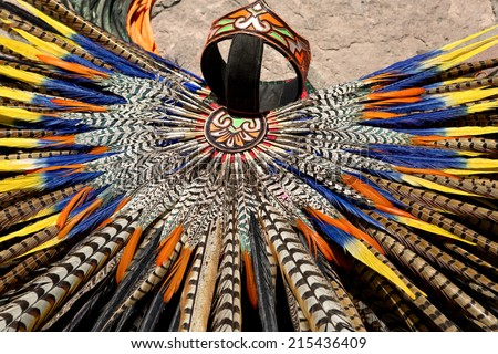 Mayan traditional handmade feather headdress closeup - stock photo