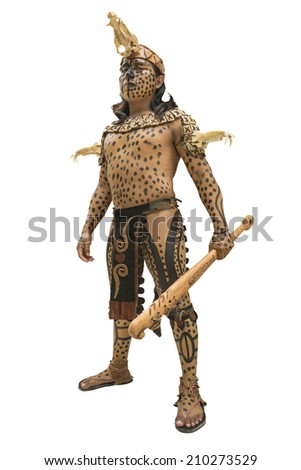 Mayan warrior in Yucatan, Mexico A native Mayan warrior dressed up like it was on the Classic Mayan Period around 900 AC.   - stock photo