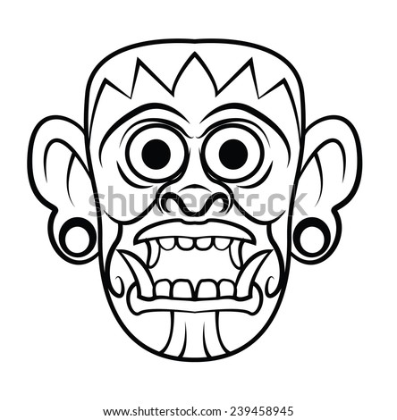 Mayan Wooden Black and White Mask - stock photo
