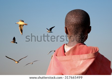 Maybe one day I'll be able to fly - An African child watch the seagulls flying as a metaphor for a flight that will take him away from Africa - stock photo