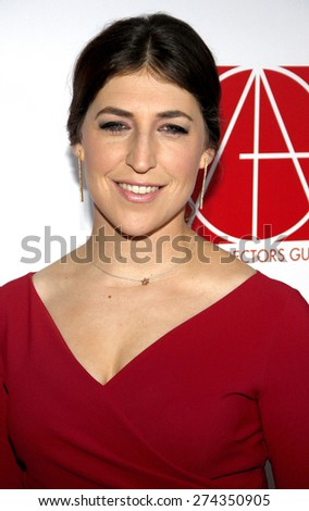 Mayim Bialik at the 19th Annual Art Directors Guild Excellence In Production Design Awards held at the Beverly Hilton Hotel in Beverly Hills on January 31, 2015.  - stock photo