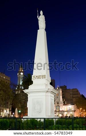 Mayo pyramid, Plaza de Mayo, Buenos Aires, Argentina. - stock photo