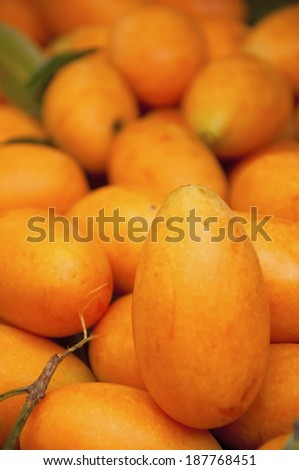 Mayongchid Maprang Marian Plum and Plum Mango at open market Thailand - stock photo