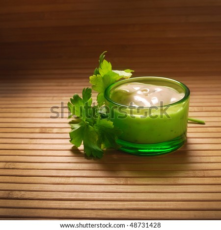 mayonnaise sauce with fresh parsley - stock photo