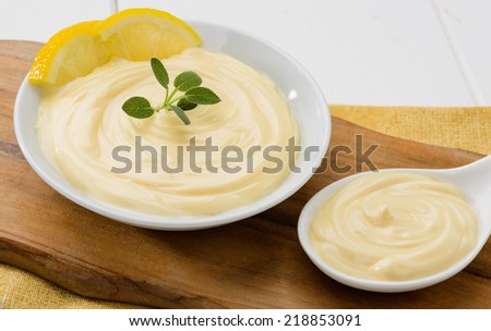 Mayonnaise with ingredients, close-up
