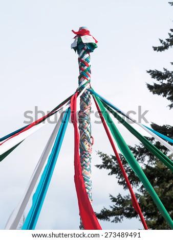 Maypole celebration - stock photo