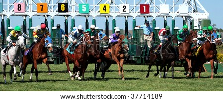MAYS LANDING, NJ - APRIL 23: The horses break from the gate on a beautiful day April 23, 2009 in Mays Landing, NJ. Atlantic City Race Coarse in their second day of live racing of the season. - stock photo