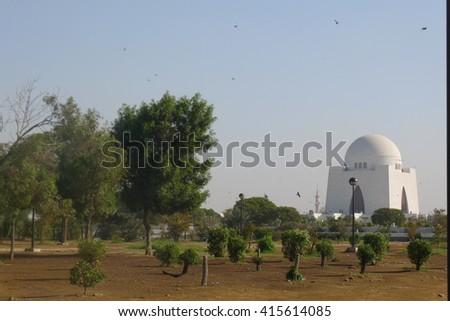 Mazar-e-Quaid - mausoleum of the founder of Pakistan, Muhammad Ali Jinnah. Iconic symbol of Karachi in Pakistan - stock photo
