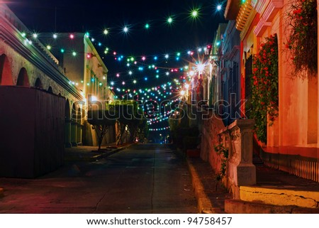 Mazatlans Colorful streetlights - stock photo
