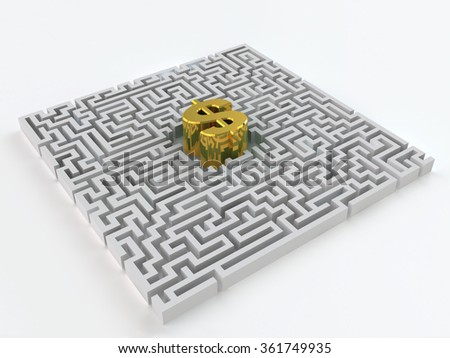 Maze and gold dollar sign on a white background