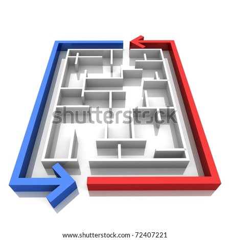 maze, around which are two arrows