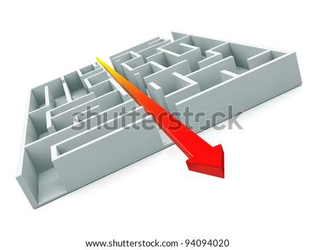 Maze, Arrow getting a shortcut through the maze. - stock photo