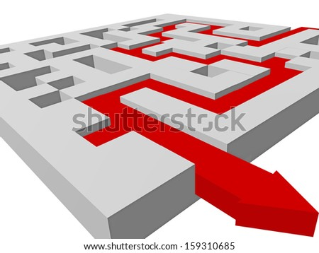 maze arrow-solve problems - find directions  - stock photo