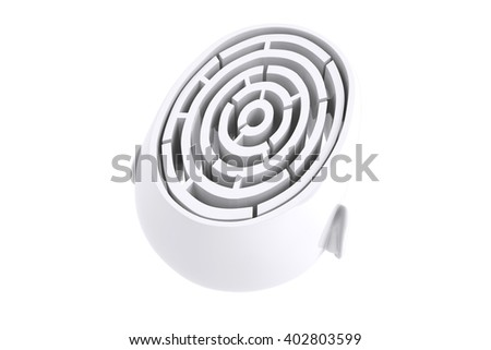 Maze brain in head against white background with vignette