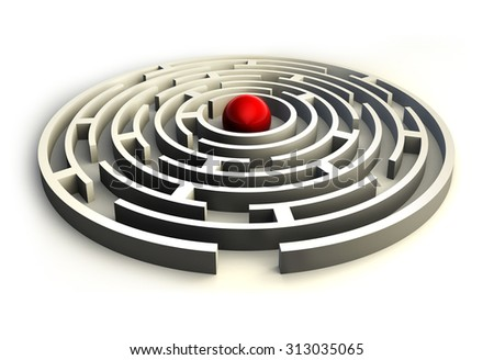 maze circles and red ball in the center of the labyrinth. clipping path included - stock photo